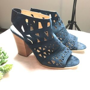 Diba Blue Heel Open Toe Booties Size 9